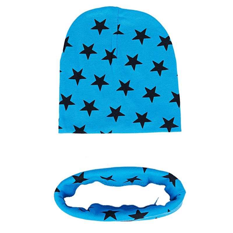 Moda Unisex dziewczynek dziecko chłopcy wzór gwiazdy kapelusze szalik dwuczęściowy zestaw (niebieskie jezioro)