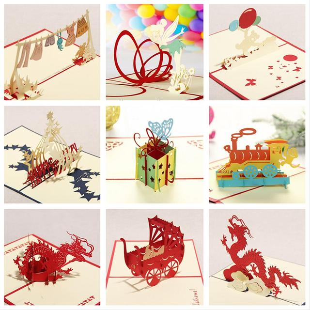 Kirigami 3D Pop Up Card Birthday Cards For Children Handmade Greeting 9PCS SET Combination