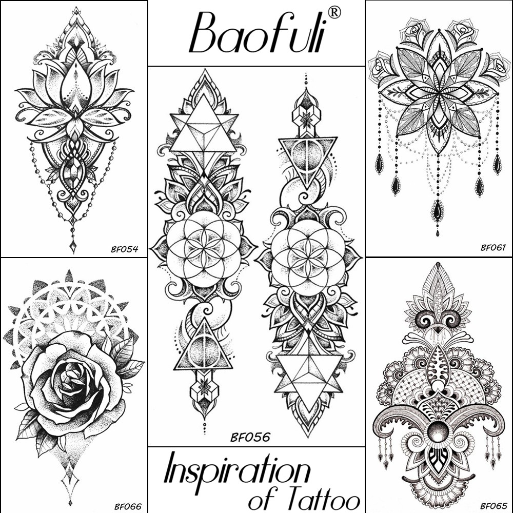 baofuli women diy henna flowers temporary tattoo black lotus sleeve Prom Jewelry women black henna flowers temporary tattoo geometric triangle long chains waterproof tatoos fake body decal tattoo