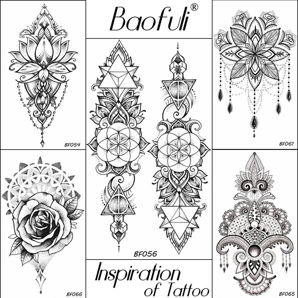 Women Black Henna Flowers Temporary Tattoo Geometric Triangle Long Chains Waterproof  Tatoos Fake Body Decal Tattoo Stickers