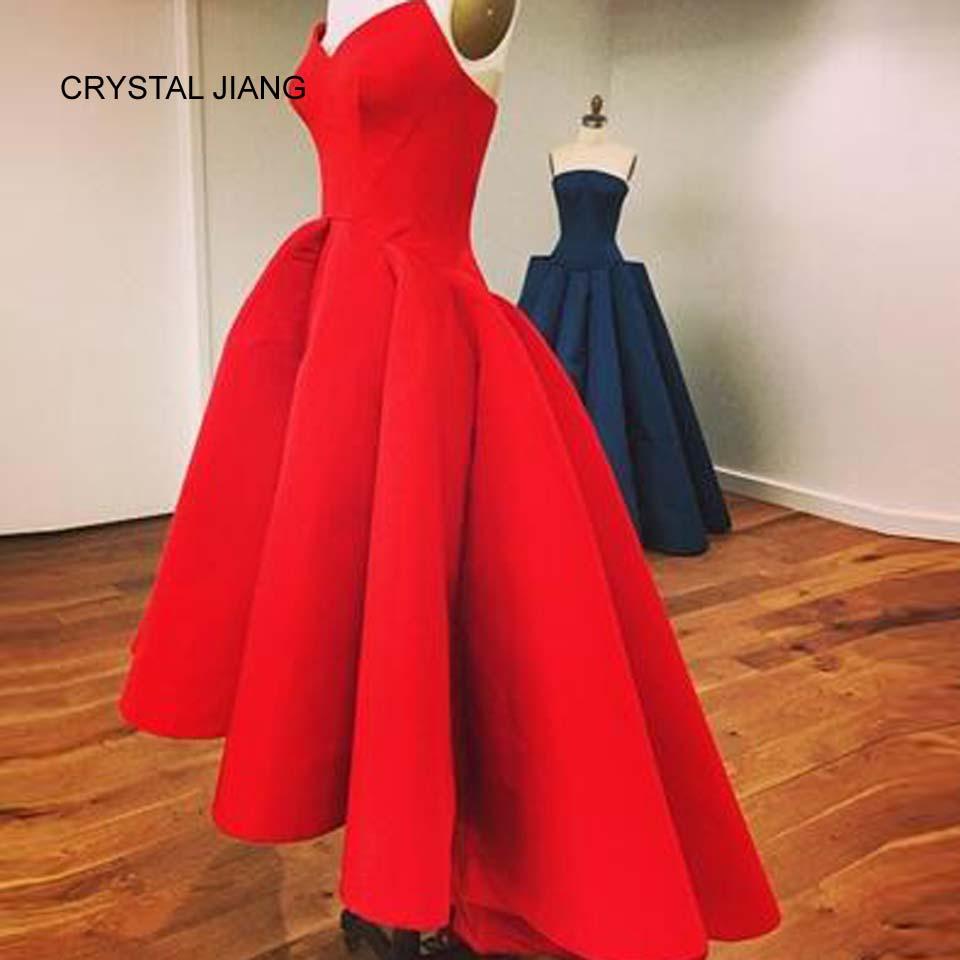 CRYSTAL JIANG Sweetheart sarkanais satīns Unikāls dizains - Kleitas īpašiem gadījumiem