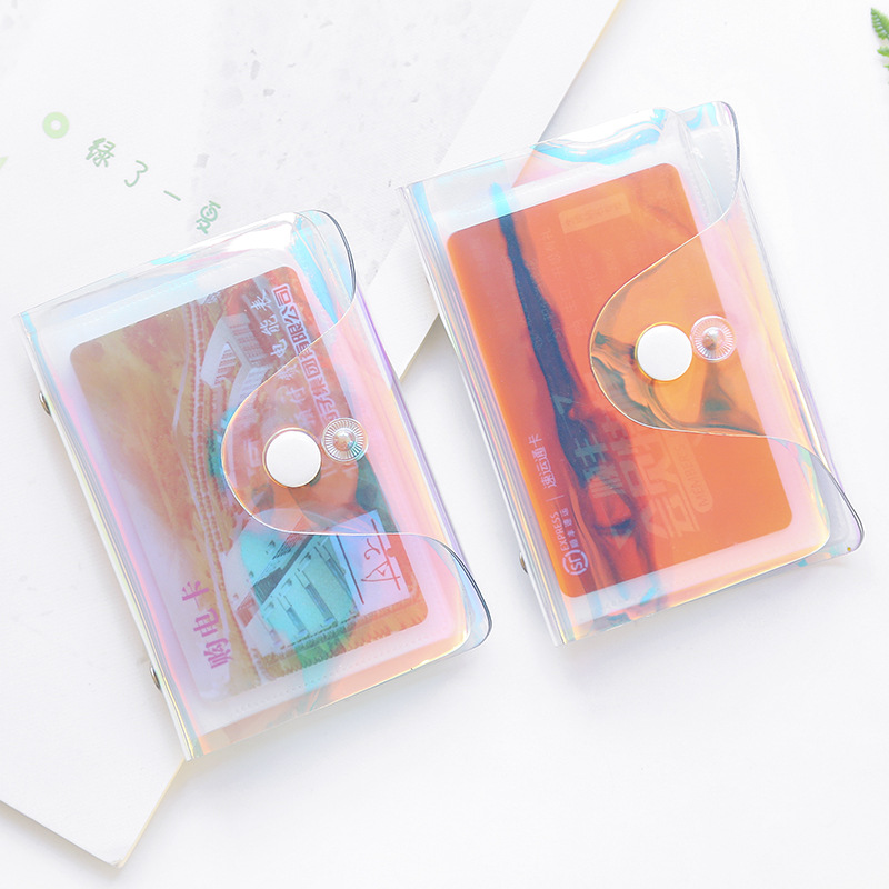 Hologram Transparent Credit Card Holder Women Card Case Organizer Wallet Fashion Clear Pvc Passport Cards Cover 20 Bits Card Bag