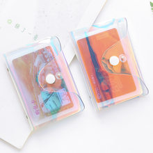 Hologram Transparent Credit Card Holder Women Card Case Organizer Wallet Fashion Clear Pvc Passport Cards Cover 20 Bits Card Bag(China)