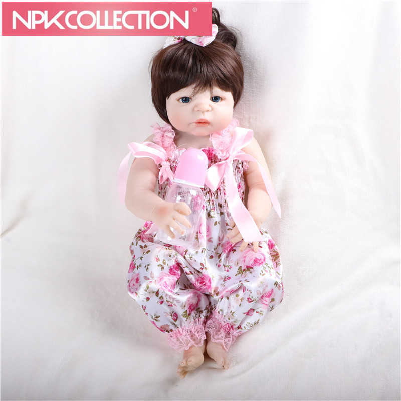 NPK 23'' Reborn Baby Doll bebe alive reborn bonecas 100% handmade Lifelike Body Full Silicone with Pacifier feed bottle N70-71 55cm full silicone reborn baby doll toy real touch newborn princess toddler babies alive bebe doll with pacifier girl bonecas