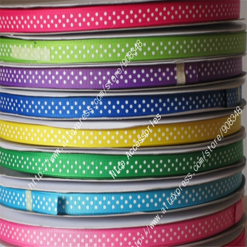 3 8 9mm 100 polyester White Oil polka dots printed grosgrain ribbon Dotty ribbons hair bows