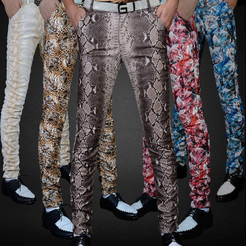 Non-mainstream Slim printing men's pu leather pants pants tide male personality boa Leopard nightclub costumes