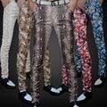 Не Связанные с основной Тонкий печати мужская pu кожаные штаны брюки прилив мужской личности боа Леопарда ночной клуб костюмы