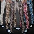 Couro do plutônio dos homens não-mainstream Fino de impressão calças calças maré masculino personalidade boa Leopardo boate trajes