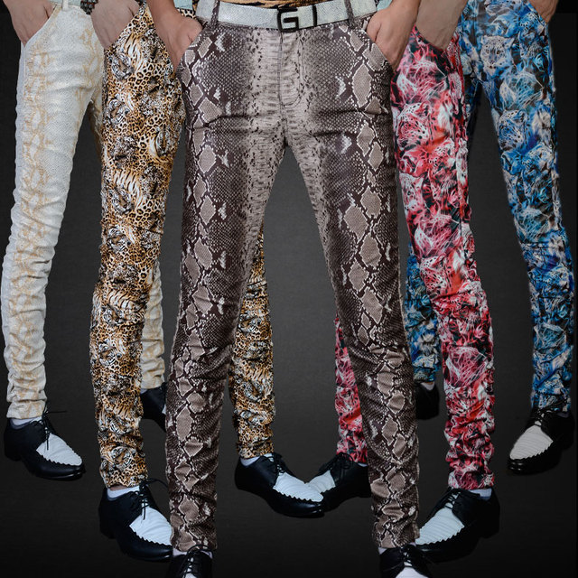 Non-mainstream Slim printing men's pu leather pants pants tide male personality boa Leopard nightclub costumes 115