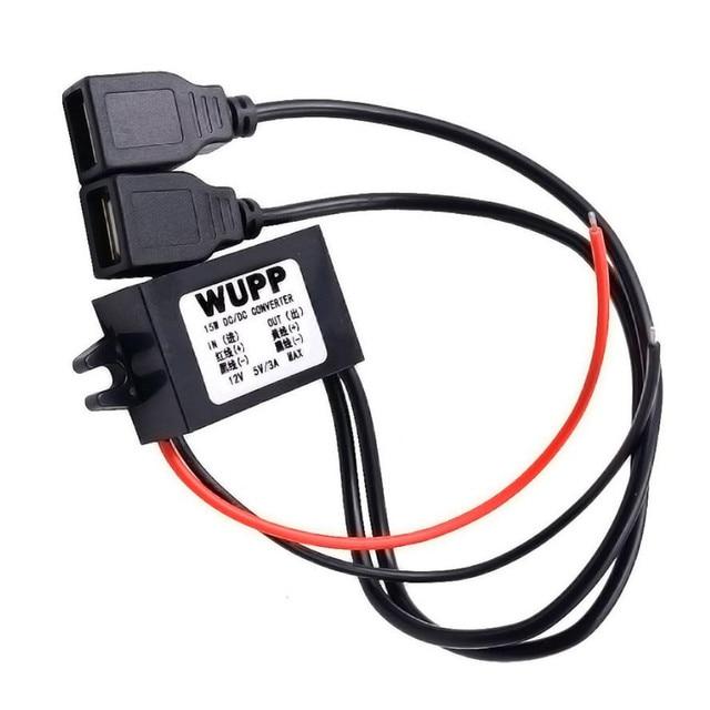 2018 Venta caliente 15 W coche barco motocicleta 2 cargador USB DC 12 V a 5 V 3A adaptador de corriente suministro 100% nuevo y de alta calidad 41*21*18mm