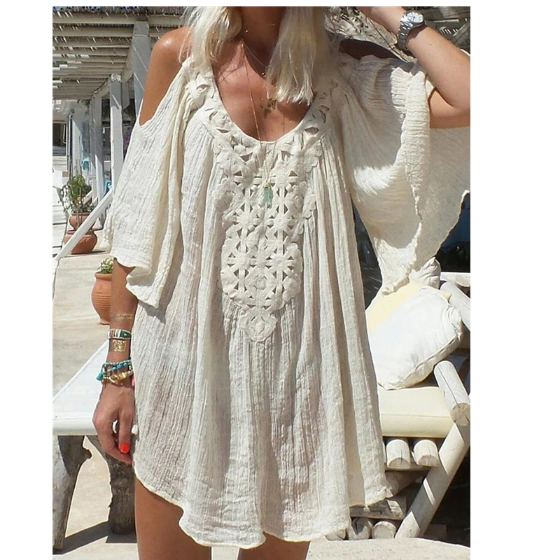NIBESSER Female Summer Boho Dress Women Beach Dress Sundress Bohemia Style Halter Neck Bodycon Boho Beath Dresses Sundress Платье
