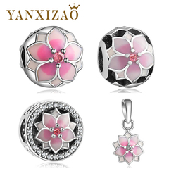 Yanxizao Fashion silver European CZ Charm Beads Fit Pandora Charm Bracelet Pendant Necklace DIY Jewelry Originals Silver 925 GW