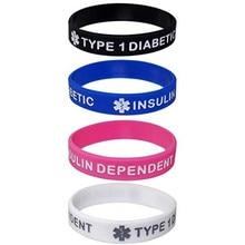 1pc Type 1 Diabetes Bracelets Diabetic Silicone Medical Alert Insulin dependent Wristbands Adult Sizes