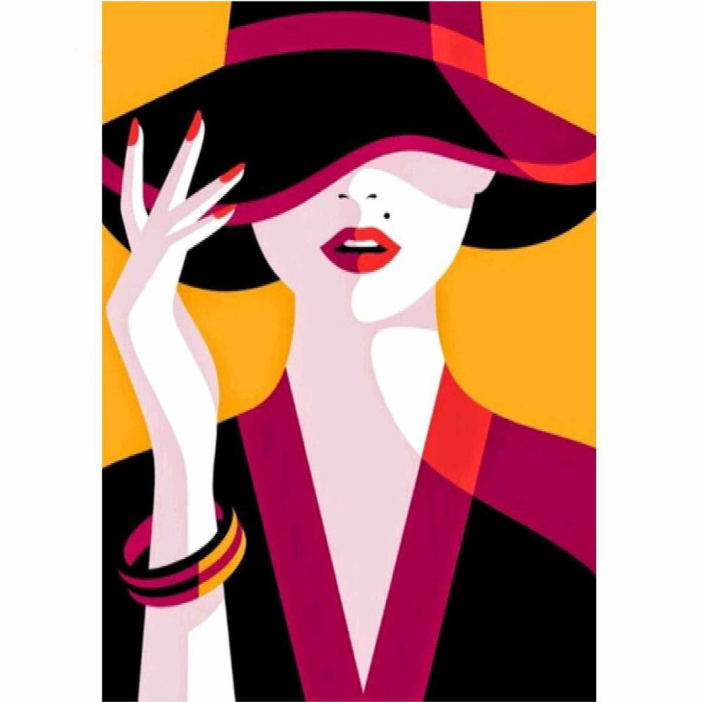 5d DIY Diamond Painting Kit Cartoon Woman Cross Stitch Diamond Embroidery Hat Patterns Full Rhinestones Mosaic Home Decor