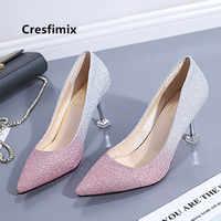 Cresfimix Dame Mode Hohe Qualität Pu Leder Glänzende Hohe Ferse Schuhe Frauen Nette Süße Rosa Hohe Ferse Femmes Hauts Krallen c5350