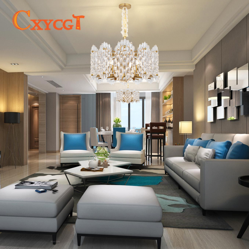 Modern Living Room Chandelier Lighting High Quality Gold Light Fixture  Round Luxury Crystal Lamp LED Cristal Lustres