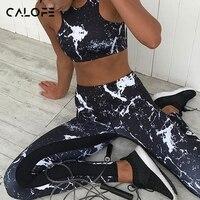 CALOFE Mujeres Conjuntos De Yoga Deportes Running Girls Delgado Leggings de Fitness Tops Workout Sujetador Floral de Malla Pantalones Del Juego Del Deporte Mujeres Tank Top