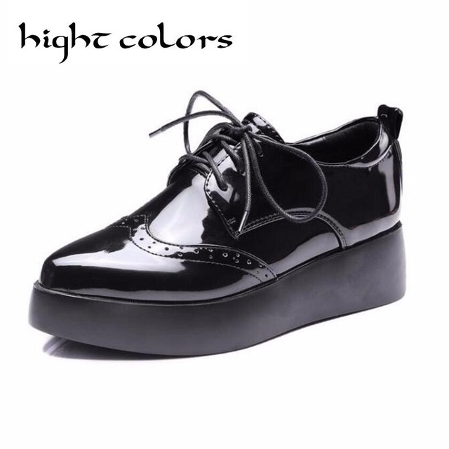 dd7a4393f73a Vintage England Style Lace Up Women Oxfords Fashion Carved Brogue Patent  Leather Platform Wedge Shoes For Women Casual Pumps 10