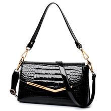Realer marque femmes messenger sacs crocodile modèle en cuir verni sac à main 2016 nouvelle dame petit sacs à bandoulière