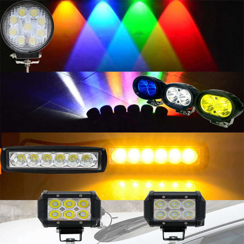 18W 27W White Yellow Blue Green Red Spot Flood Led Work Driving Light Fog Lamp Offroad Off Road Led Light Bar Wire and Bracket