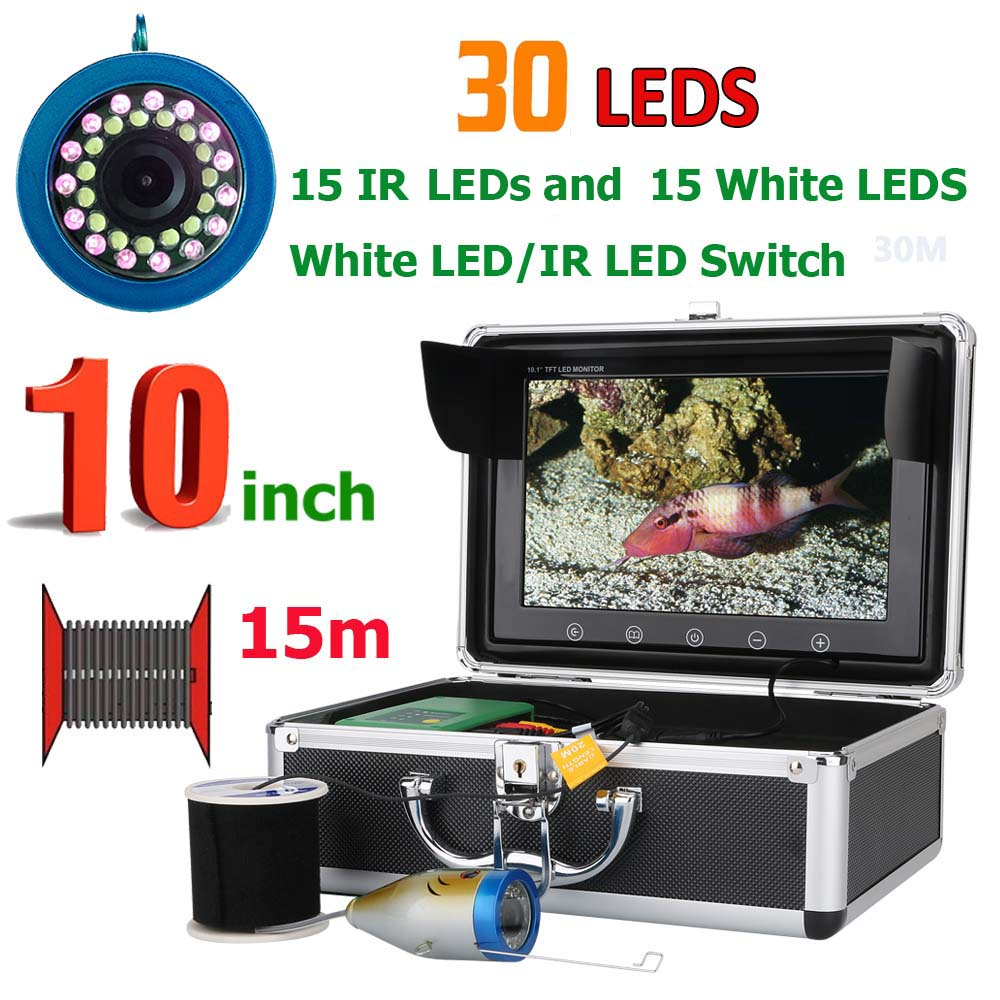 10 Inch 15M 1000TVL Fish Finder Underwater Fishing Camera 15pcs White LEDs 15pcs Infrared Lamp For
