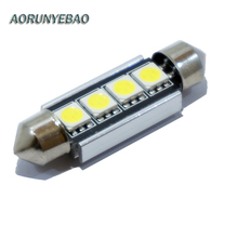 AORUNYEBAO 2PCS White Festoon Canbus 31MM 41mm 4SMD 5050 LED Error Free Car Dome light Lamp Bulb 211-2 212-2 With Heat Sink 12V