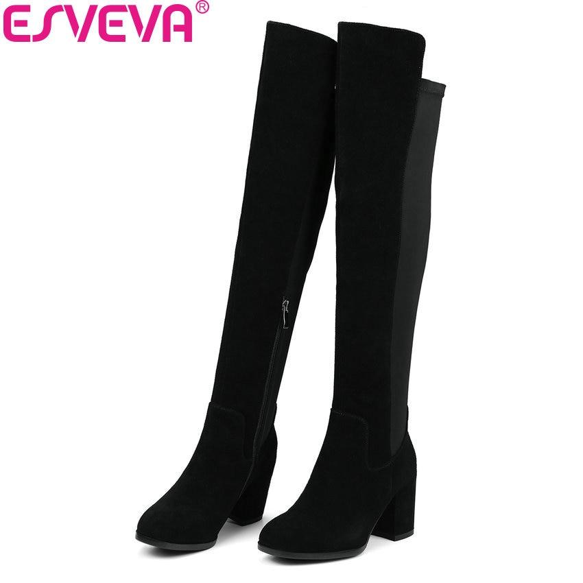 цены на ESVEVA 2018 Women Boots Handmade Over The Knee Boots Cow Suede+PU Ladies Warm Fur Square High Heels Ladies Long Boots Size 34-39 в интернет-магазинах