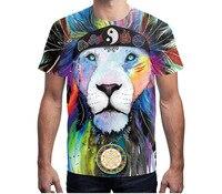Urumbassa Vrouwen/mannen leeuw gedrukt T-Shirts Europese & Amerikaanse 3D gedrukt Tops Tees Plus size XXXL paar basic Tee shirts