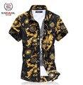 2015 del verano del estilo hombres la ropa más tamaño 6XL marca de lujo hombres de la camisa delgada ocasional camisa floral camisas de hombre hawaiano, envío gratis