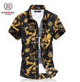 2015 summer style men clothing Plus size 6XL luxury brand shirt men slim shirt casual floral men shirts  hawaiian,free shipping