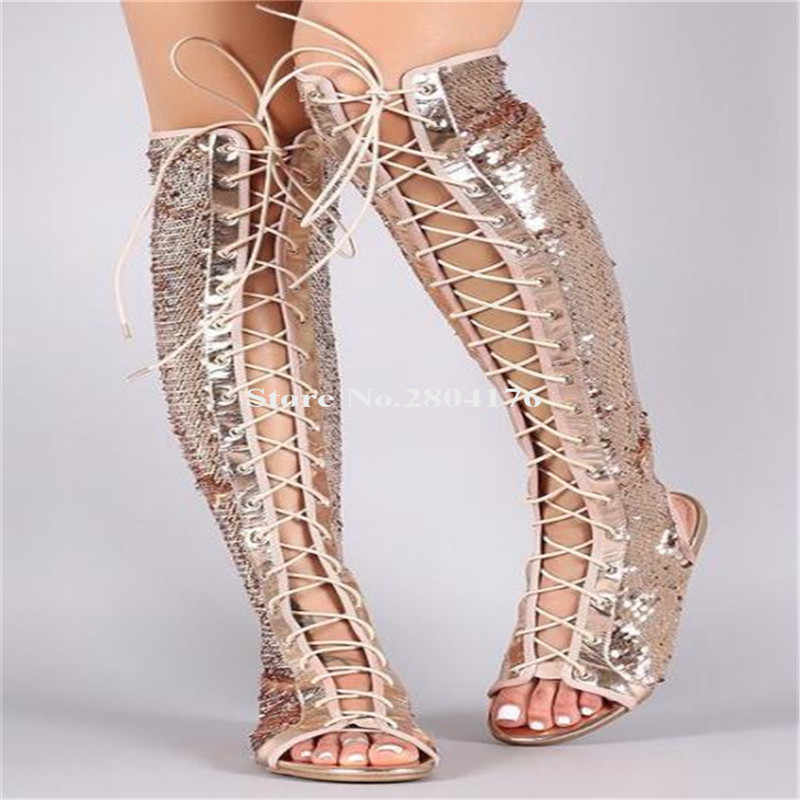 Phụ nữ Bling Bling Mở Ngón Chân Sequined Ren-up Đầu Gối Cao Flat Gladiator Boots Cut-out Màu Xanh Xám Vàng dài Khởi Động