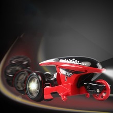 High-Speed Cool Stunt Remote Control Motorcycle 2.4G Mini Deformation With Light Drift Flip Car Childrens Toy Gift