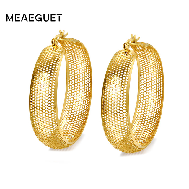 Meaeguet Classic Gold Color Hollow Big Earrings Hoop Earrings