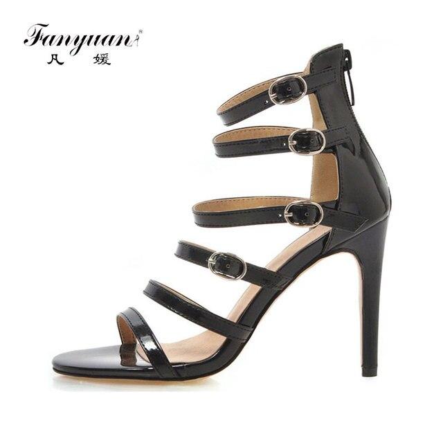 best sneakers 22c8d 5e7f1 Fanyuan Marke Plus Größe 34 48 Schnalle Damen High Heels Rom Schuhe Frau  Casual Party Ol Luxus Sommer sandalen
