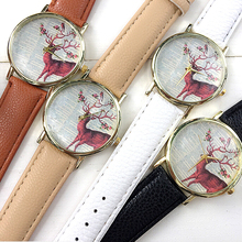 1pc fashion women ladies watches wrist clocks leather strap Quartz Wristwatches deer design Children Animal Watch hour gift H4