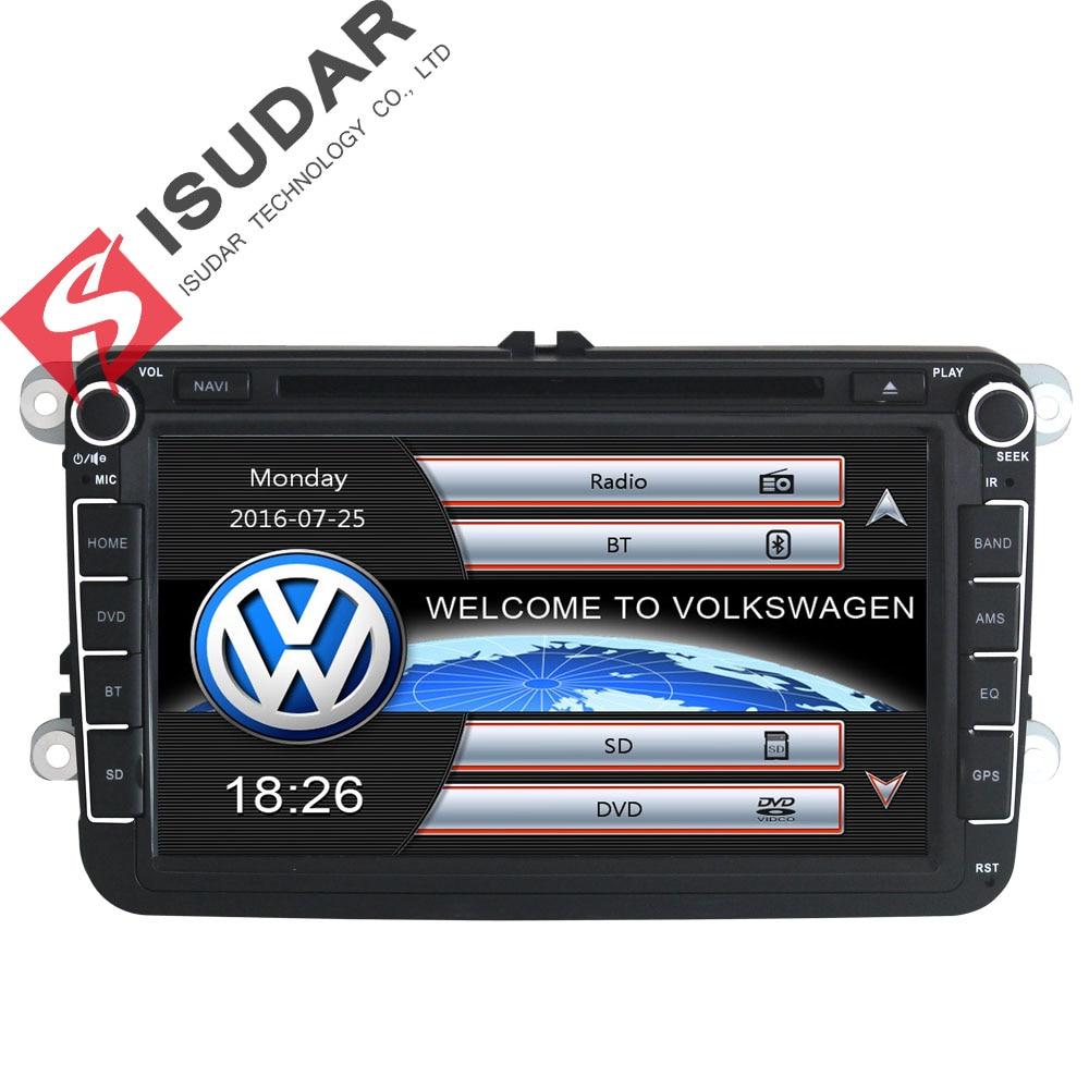 Isudar coche reproductor Multimedia GPS 2 Din Autoradio para VW/POLO/PASSAT b6/golf 5/Skoda /Octavia/SEAT/LEON radio automotivo dvd DAB