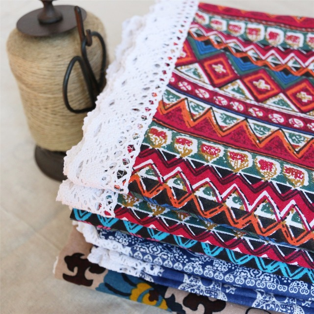 Red/Blue Ethnic Pattern Tablecloth – Cotton Linen and Lace