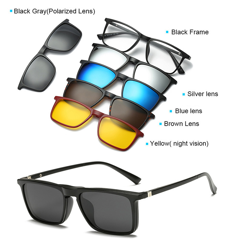 Prescription Glasses Men Spectacle Frame Men Women 5 Clip On Polarized Sunglasses Magnetic Glasses Male Driving Myopia Optical