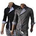 2014 nova primavera outono de xadrez de moda Cardigan homens blusas Slim fit camisetas roupas Outerwear M-XXL
