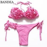 2016 New Bikini Set Sexy Floral Swimwear Pink Swimsuit Push Up Bikini Bandage Bikini Women Brazilian