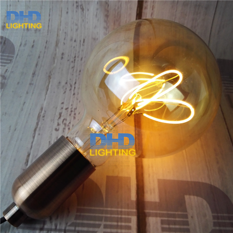 Free shipping G95 Edison spiral LED filament bulb 4W 220V dimmable supper warm 2200K Amber glass antique edison lamp bulb a130 big edison led bulb e27 spiral