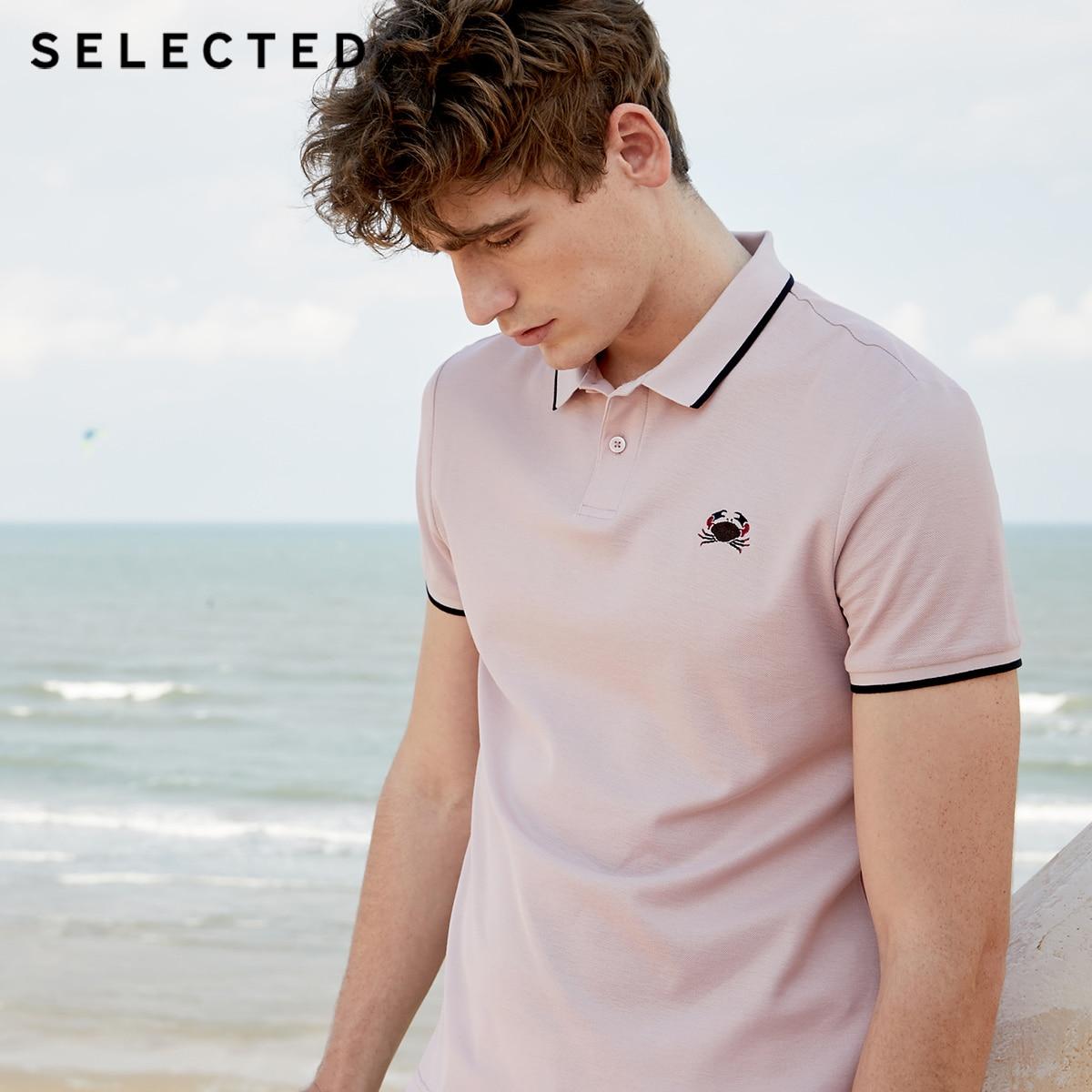 SELECTED Мужская летняя футболка-поло с короткими рукавами из 100% хлопка S
