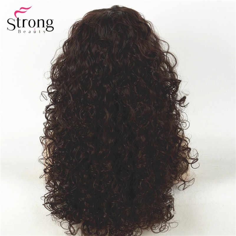 Peluca sintética Afro rizada marrón largo oscuro pelucas de mujer