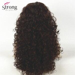 Image 4 - Perruque synthétique complète Afro bouclée longue brun foncé, perruques pour femmes