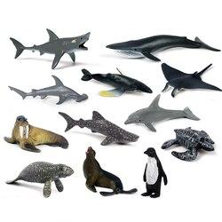 Мини-фигурка Реалистичная Морская жизнь 12 шт./компл., морские животные, Кит, Акула, модель, экшн-фигурка, ПВХ животное, обучающие игрушки для д...