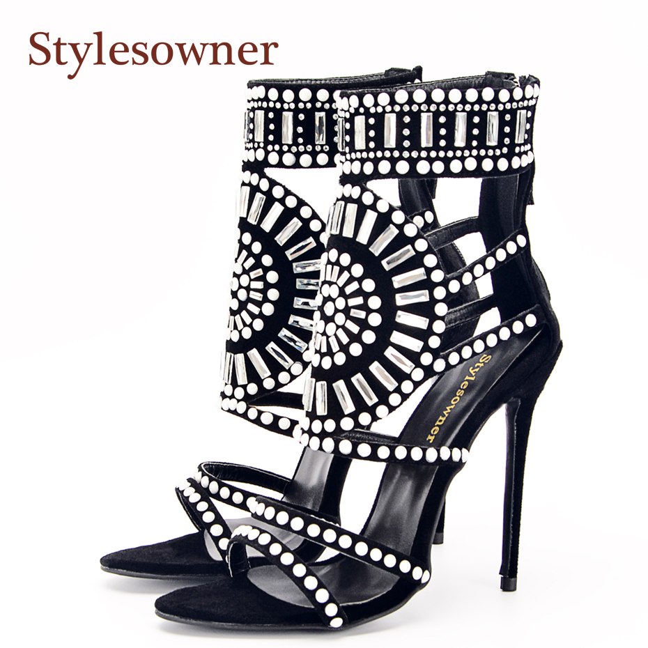 Stylesowner 12cm New Summer Sandal Boots Glitter Rhinestone Beaded Open Toe Ankle Strap Catwalk Sandal Gladiator Sexy Shoe stylesowner elegant lady pumps sandal shoe sheepskin leather diamond buckle ankle strap summer women sandal shoe