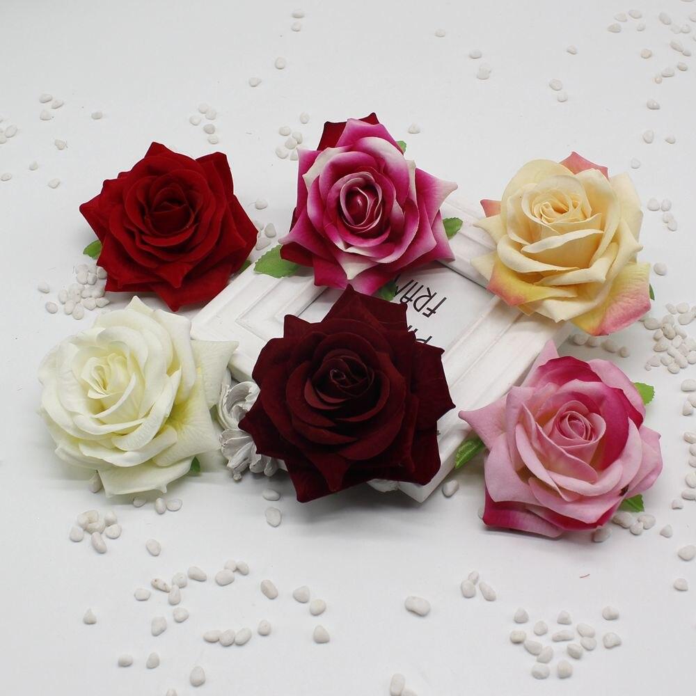 Roses de simulation fausses fleurs 9 CM | Ensembles fleurs décoratifs compacts en flanelle pour mariage