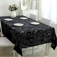 Senisaihon Modern Cotton Tablecloth Black & White Leaves Pattern Table Cloth Wedding Banquet Washable Table Cover Textiles(China)