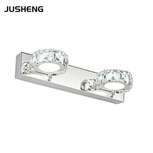 Indoor 6W Circle Crystal LED Wall Light Lamps 2-lights 85-265V AC Decoration Sconces lighting lamps in Bathroom