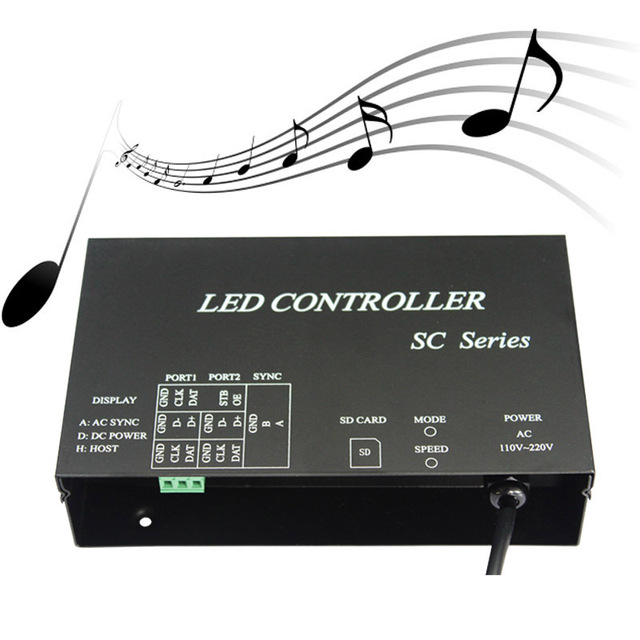 LED music controller,full color programmable,play effects with music,support DMX512,WS2812,etc.microphone&audio cable input